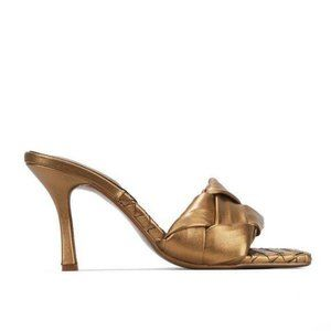 Shoes - !! EXCLUSIVE !! Square Toe Braided Mule in Gold